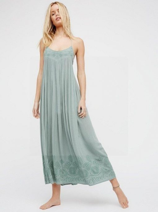 Hippie chic türkisfarbenes Kleid