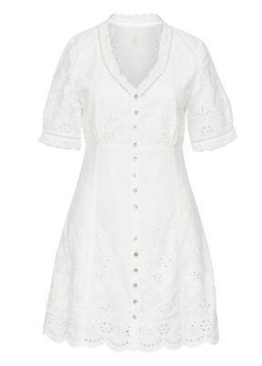 Weißes kurzes Hippie Kleid aus Spitze