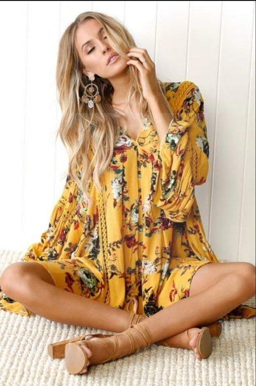 Hippie Kleid mit langen Ärmeln